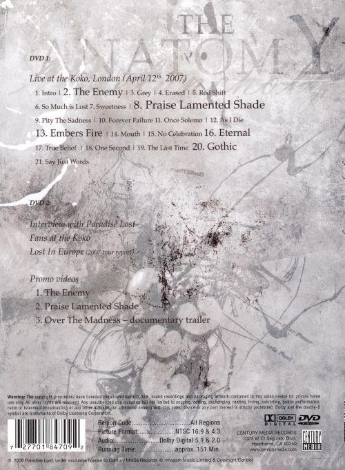 The Anatomy Of Melancholy Dvd Paradise Lost Release Info