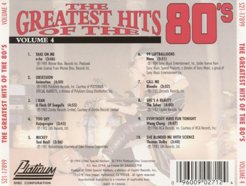 The Greatest Hits of the '80s, Vol. 4