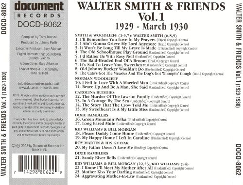 Walter Smith and Friends, Vol. 1 (1929-1930)