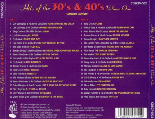 Hits Of The 30S  40S, Vol 1 - Various Artists  Songs, Reviews, Credits  Allmusic-5623