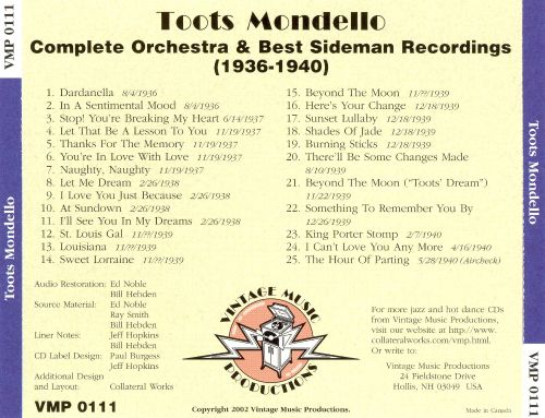 Complete Orchestra & Best Sideman Recordings (1936-1940)