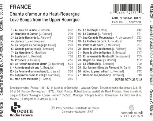 Love Songs from the Upper Rouergue