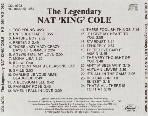 Legendary Nat King Cole