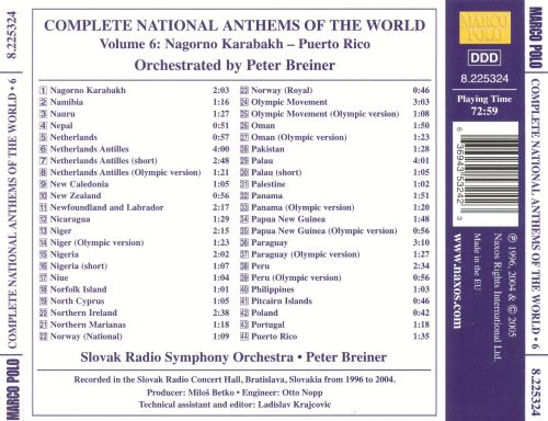 The Complete National Anthems of the World, Vol. 6: Nagorno Karabakh-Puerto Rico