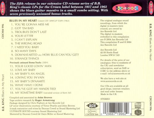 Blues In My Heart Bb King Songs Reviews Credits Allmusic