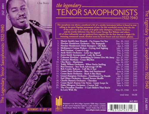 The Legendary Tenor Saxophonists: 1922-1940