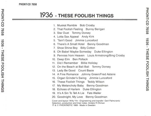 These Foolish Things: 1936