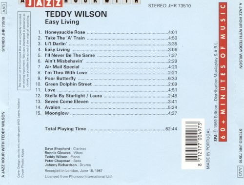 Jazz Hour with Teddy Wilson: Easy Living