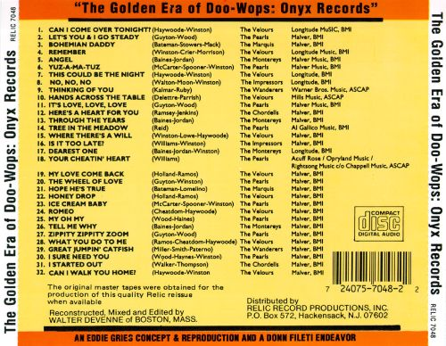 The Golden Era of Doo-Wops: Onyx Records