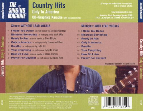 Country HIts: Only in America [Singing Machine 7131]