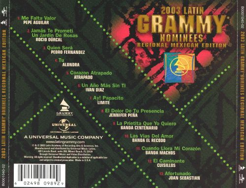 Latin Grammy Nominees 2003: Regional Mexican