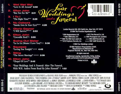 Four Weddings And A Funeral Original Soundtrack Songs Reviews