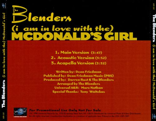(I Am in Love with The) McDonald's Girl [CD Single]