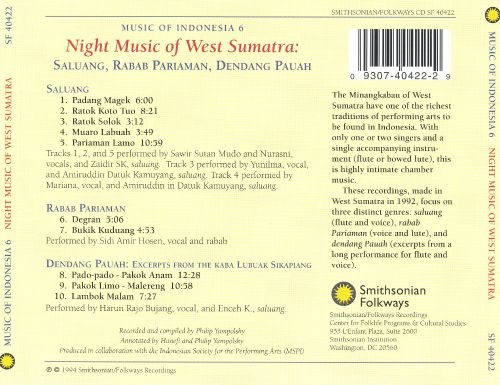 Music of Indonesia, Vol. 6: Night Music of West Sumatra