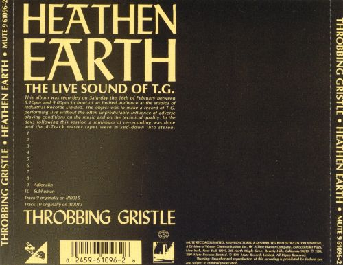 Heathen Earth: The Live Sound of Throbbing Gristle