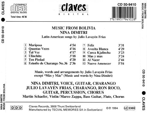 Music from Bolivia: Bolivian Songs