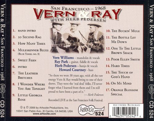 Vern & Ray with Herb Pedersen: San Francisco 1968