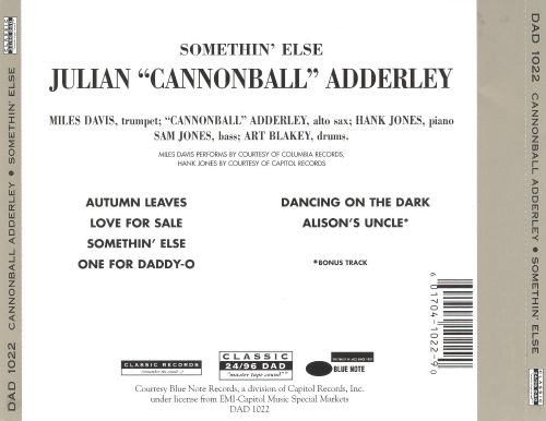 Somethin Else Cannonball Adderley Songs Reviews Credits