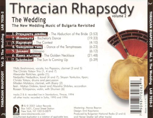 Thracian Rhapsody Vol. 2: The Wedding - The New Wedding Music of Bulgaria Revisited