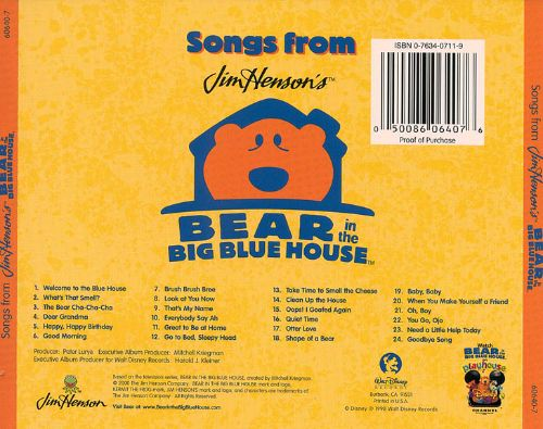Songs From Jim Henson 39 S Bear In The Big Blue House Bear