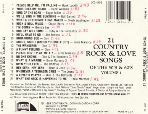 Country rock love songs