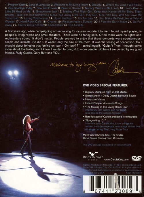 Welcome To My Living Room Carole King Songs Reviews Credits