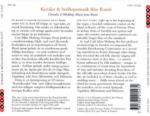 Folk Music in Sweden, Vol. 24: Chorales and Wedding Music From Runö