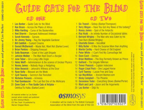 Guide cats for the blind: songs and poems of les barker various.