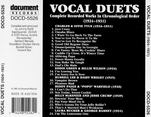 Vocal Duets: Complete Recorded Works (1924-1931)
