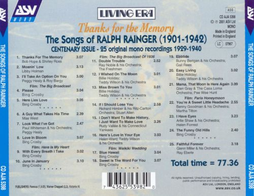 Thanks for the Memory: Songs of Ralph Rainger