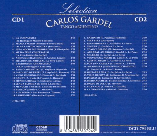 Selection of Carlos Gardel: Tango Argentino