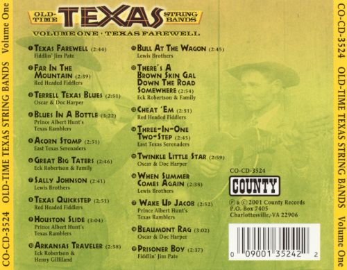 Old Time Texas String Bands, Vol. 1: Texas Farewell