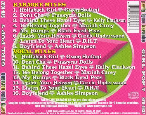 Party Tyme Karaoke: Girl Pop, Vol. 7