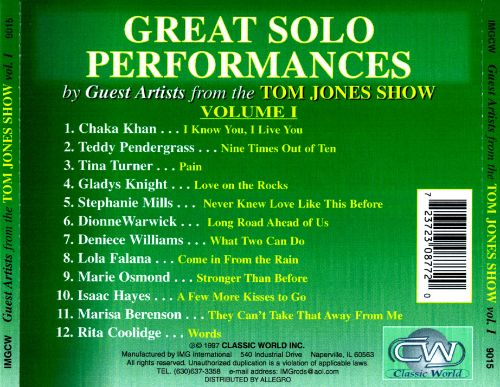 Great Solo Performances by Guest Artists from the Tom Jones Show, Vol. 1