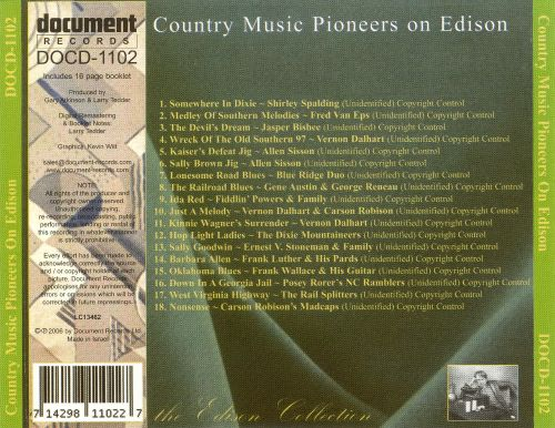 Country Music Pioneers on Edison