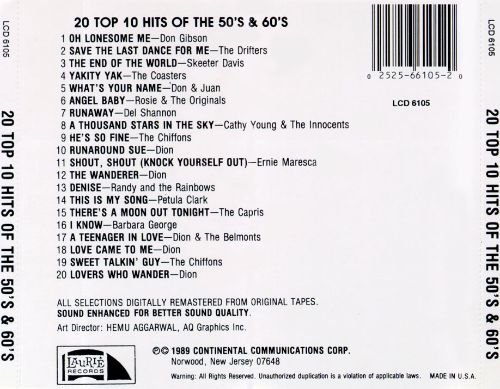 20 top 10 hits of the 50 s 60 s laurie various artists songs