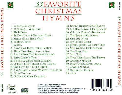 33 favorite christmas hymns 33 favorite christmas hymns