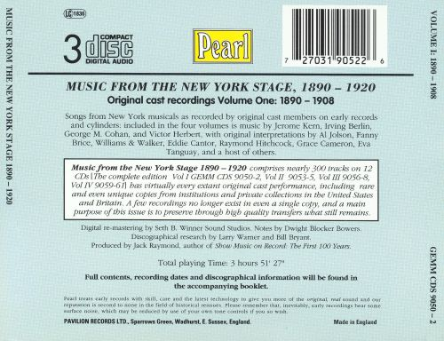 Music from the New York Stage 1890-1920, Vol. 1: 1890-1908