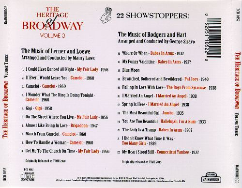 The Heritage of Broadway, Vol. 3: The Music of Lerner & Loewe/Rodgers & Hart