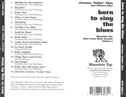Born To Sing The Blues: Mountain Top West Coast Blues Session, Vol. 2