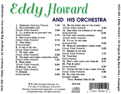 Eddy Howard & His Orchestra Play 22 Original Big Band Recordings