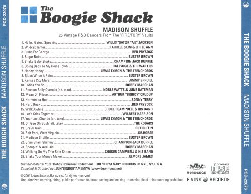 The Boogie Shack Madison Shuffle: 25 Vintage R&B Dancers from the Fire/Fury Vauts