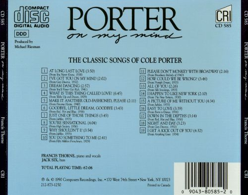 Porter On My Mind: The Classic Songs of Cole Porter