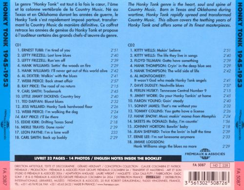 Honky Tonk Country Music 1945-1953