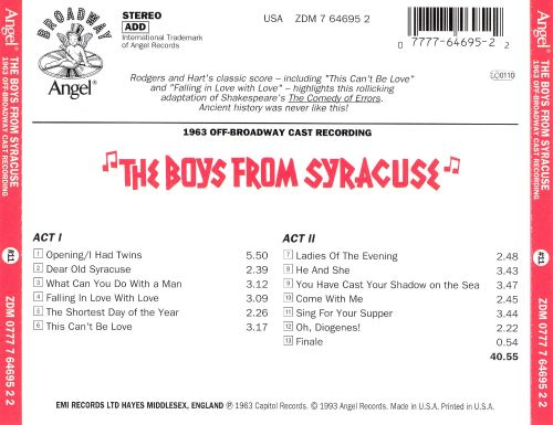 The Boys from Syracuse [1963 Off-Broadway Revival Cast]