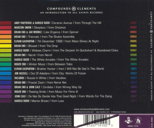 Compounds + Elements: An Introduction to All Saints Records