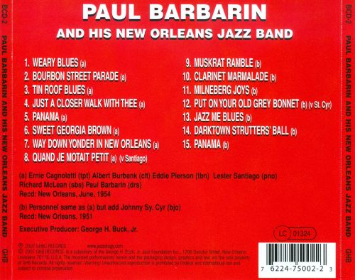 Paul Barbarin & His New Orleans Jazz Band [GHB]