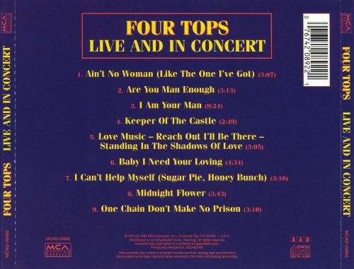 Live & In Concert - The Four Tops | Releases | AllMusic