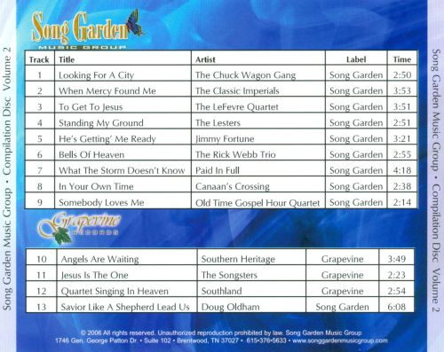 Song Garden Music Group: Compilation Disc, Vol. 2