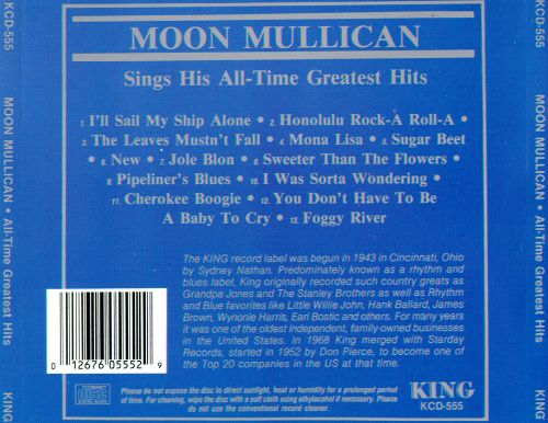 Moon Mullican Sings His All-Time Hits